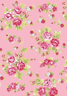 Stoff Blomster Rosa/Rød, 50 x 160 cm