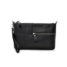 Ceannis Grained Leather Envelope Bag Black