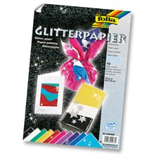 Glitterpapir 70 g, 23 * 33 cm, 10 sorterte ark
