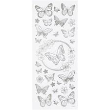 Stickers, ark 10x24 cm, ca. 28 stk., sølv, sommerfugl, 1ark