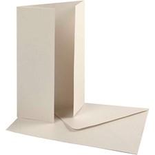 Perlemorskort med konvolutt, kort str. 10,5x15 cm, konvolutt str. 11,5x16,5 cm, 10 sett, råhvit