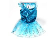 Isprinsessa, paljettklänning, turkos, 3-5 år