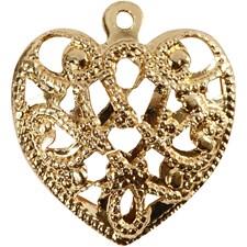 Sydän, koko 13x14 mm, aukon koko 1 mm, 4 kpl, kullanvärinen
