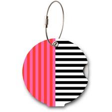 Addatag bagagetag - Multi stripes pink