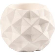 Ljusstake, vanliga stearinljus, dia. 8 cm, H: 8 cm, vit, 6st., hålstl. 2,2+4 cm