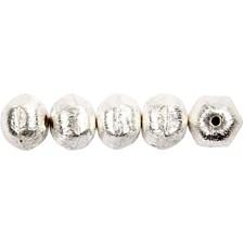 Metallihelmi, 10 mm, aukon koko 1 mm, 8 kpl, brushed sterling silver plated