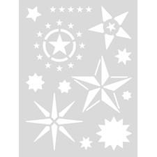 Sjablon Medium, Stjerner, 18,5 x 24,5 cm