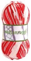 Mellanraggi Garn Ullmix 100g Danmark Röd/Vit Print (28340)