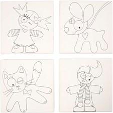 Malelerret med print, str. 15x15 cm, dybde 1,4 cm, barn og kjæledyr, 4stk.