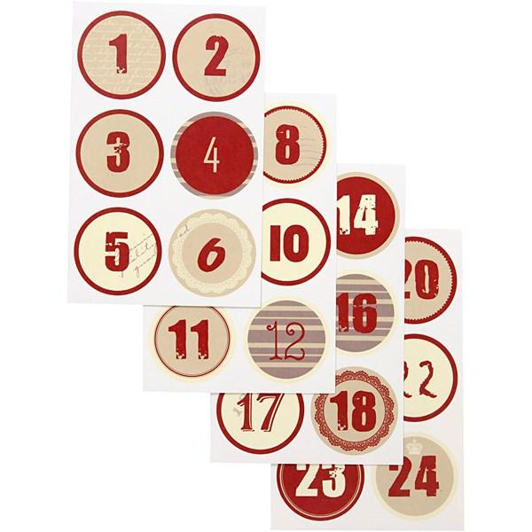 Joulukalenteritarrat, halk. 4 cm, arkki 9x14 cm, 4laj