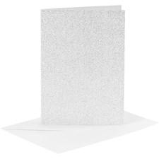Kort och kuvert, kortstl. 10,5x15 cm, kuvertstl. 11,5x16,5 cm, silver, glitter, 4set