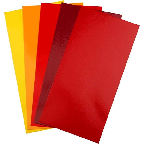 Color Dekor värikalvo, arkki 10x20 cm, 5 laj. arkki, pun/orans/kelt.säv.