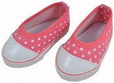 Skrållans rosa sko med prikker