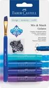 Akvarellkrita Faber-Castell Gelatos 4 blåa nyanser