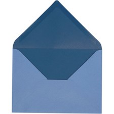 Kuvert, stl. 11,5x16 cm, 100 g, 10 st., ljusblå/mörkblå