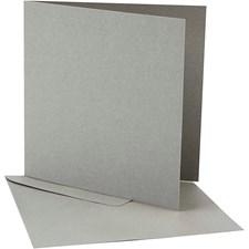 Perlemorskort og konvolutt, kort str. 12,5x12,5 cm, konvolutt str. 13,5x13,5 cm, sølv, 10sett