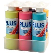 Plus Color hobbymaling, colorful, 6x250ml