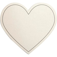 Hjerte, str. 75x69 mm, 10 stk., råhvit