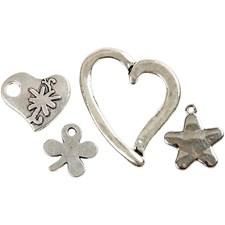 Charms med øye, dia. 17-37 mm, hullstr. 1,2-3,0 mm, antikk sølv, hjerte, stjerne og firkløver, 40ass.