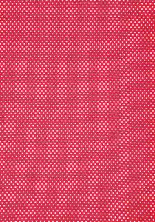 Stoff Selvklebende, Rød/Hvit, Prikker A4, Bomull