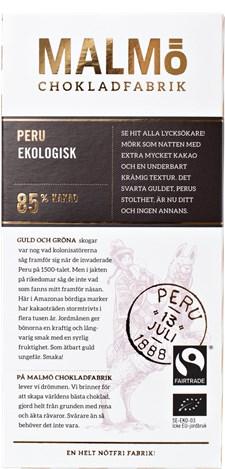 Malmö Chokladfabrik Tegelserien Choklad Peru 85% 80 g (14549)