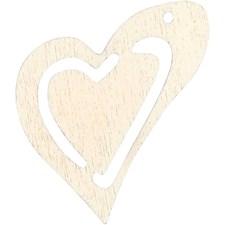 Skjevt hjerte, str. 25x22 mm, tykkelse 1,7 mm, 20 stk., hvit