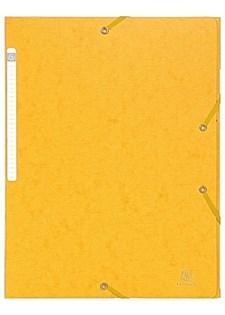 Gummibåndmappe 3-klaffer A4 600 g gul