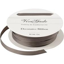 Grosgrainband, B: 5 mm, grå, 15m