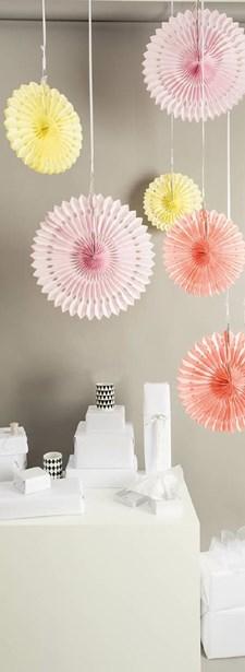 Honeycomb, Vifte, 3 stk., 40/30/25 cm, Sommer, Rico Design