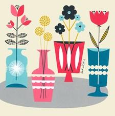 Gratulationskort Färgglada Blomvaser