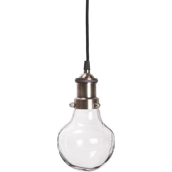 Ib Laursen Glaslampa Metall Glas H  24 cm D  13 cm Antiksilver  IB Laursen