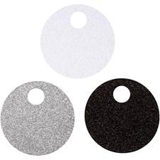 Pakettietiketit, halk. 9 cm, 300 g, 12 kpl, valkoinen, hopea, musta