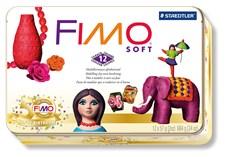 FIMO Soft-Lera, Jubilemspack Med 12 st. 57 gr. Block I Plåtask