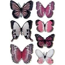 3D stickers, str. 28-45 mm, lilla, sommerfugl, 7stk.