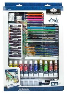 Deluxe blandet media kunstsett – akrylmaling, oljepasteller og tegneutstyr