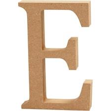 Bokstav, E, H: 13 cm, tykkelse 2 cm, MDF, 1stk.
