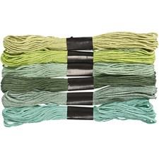 Harmoni broderigarn, tykkelse 1 mm, 6 bunter, grønn harmoni