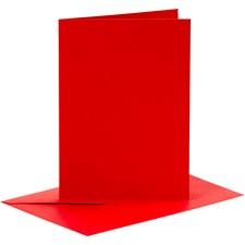 Korttipohjat ja kirjekuoret, kortin koko 10,5x15 cm, kirjekuoren koko 11,5x16,5 cm, 6 settiä, punainen