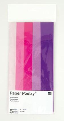 Silkepapir, Diverse Lilla, 5 blad, 50 x 70 cm