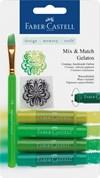 Akvarellkrita Faber-Castell Gelatos 4 gröna nyanser