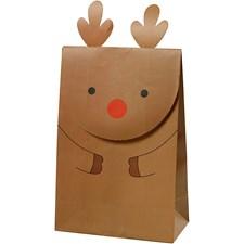 Papirpose, H: 18 cm, str. 6x12 cm, brun,  reinsdyr , 6stk., 80 g
