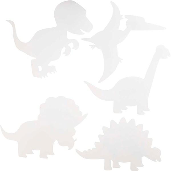 Dinosaurer, H: 15-22 cm, B: 24-25 cm, hvit, 16stk., 230 g