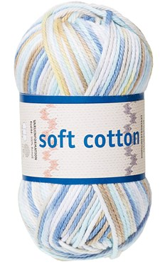 Soft Cotton Bomullsgarn 50g Vit/Beige/Blå Print (8881)