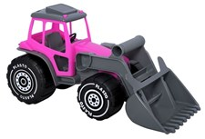 Traktor med frontlastare, Rosa/grått, 33 cm, Plasto