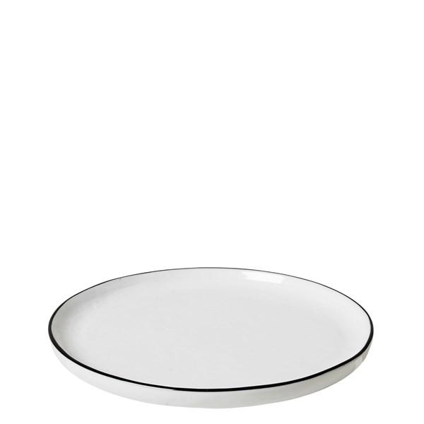 Broste Desserttallrik Salt Dia 18 cm Vit med Svart Kant  Broste Copenhagen