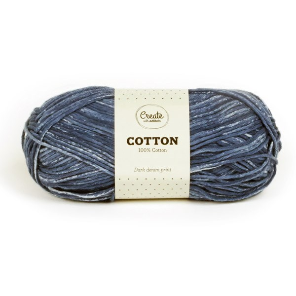 Adlibris Cotton Garn 100g Dark Denim Print A129