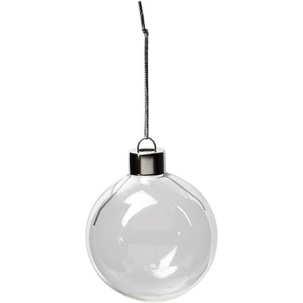 Glasskule, dia. 5,9 cm, H: 6,9 cm, 8 stk., transparent