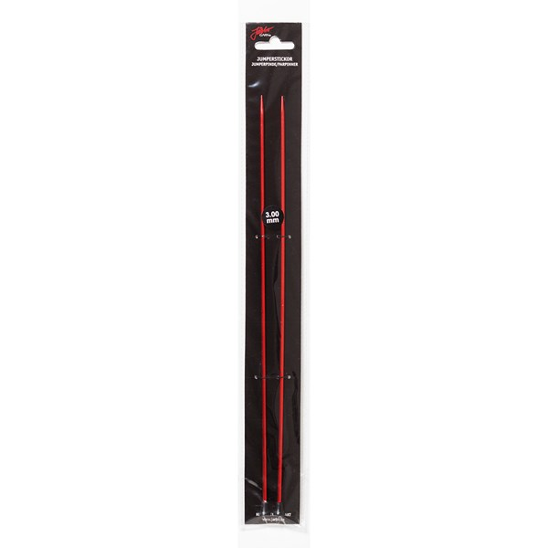 Rette strikkepinner 30cm/3,00mm Rød