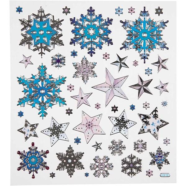 Tarrat, arkki 15x16,5 cm, n. 48 kpl, lumikristallit, 1ark