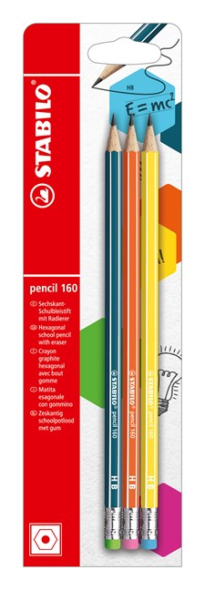 Blyertspenna Stabilo pencil 160 HB med radertopp Petrol + Orange + Gul 3-pack